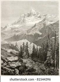 Alte Aussicht auf Gauri Sankar, Berg im Himalaya. Von Grandsire nach Schlagintweit, veröffentlicht auf Le Tour du Monde, Paris, 1860