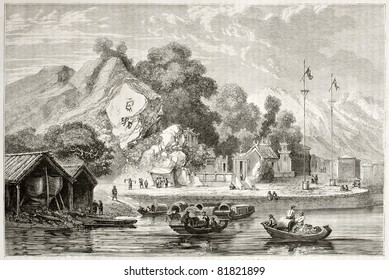 Old view of the pagoda of the rocks, Macau, China. Created by Dore after Trevise, published on Le Tour du Monde, Paris, 1860