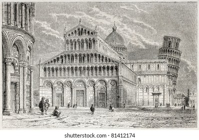 Old view of Pisa cathedral in miracles square. Created by Vinet, published on L'Illustration, Journal Universel, Paris, 1857