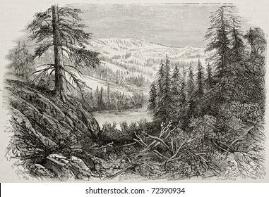 Old view of Sierra Nevada mountains, USA. Created by Provost, published on L'Illustration, Journal Universel, Paris, 1868
