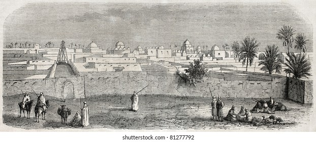 Old view of Temacin, Constantine province, Algeria. Created by Gaildrau, published on L'Illustration, Journal Universel, Paris, 1857