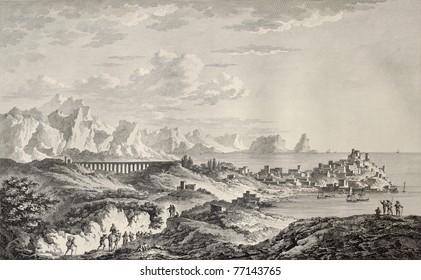 Old view of Termini Imerese, and Surroundings, Sicily. By Chatelet, Coiny and De Ghendt, published on Voyage Pittoresque de Naples et de Sicilie,  J. C. R. de Saint Non, Impr. de Clousier, Paris, 1786