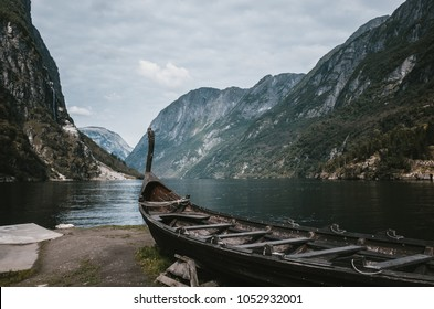 Old viking boat replica in a Norwegian landscape near Flam, Norway.