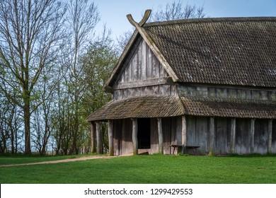 Old viking longhouse in spring