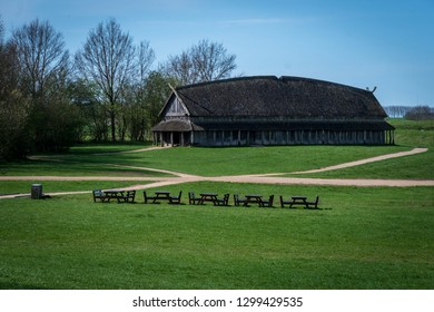 Old viking wooden longhouse