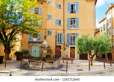 Old Village Cotignac Provence France Memorial on Market Square