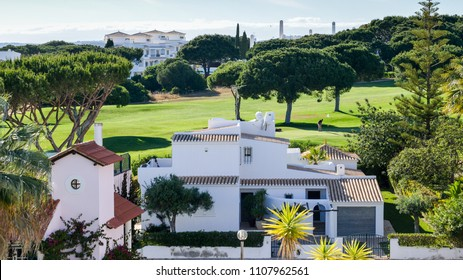 Old Village, Portugal - June 3rd, 2018: Collection of 280 properties built in 18th century Portuguese and English architecture nestled in the centre of the Pinhal Golf Course in Vilamoura, Algarve