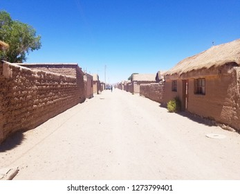 Old village in South America constructed with clay bricks and mud. Narrow roads and clay homes