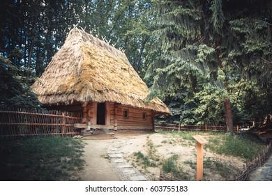 old village wooden house in Lviv skansen
