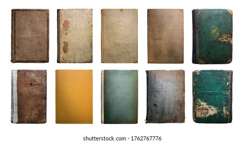 Old Vintage Antique Aged Rarity Book Cover Collection Set Isolated on White. Rough Damaged Shabby Scratched Wrinkled Paper Cardboard Texture. Front View.