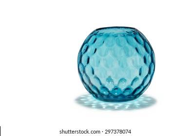 old vintage antique blue glass  vase with striking dimple pattern effect