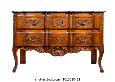 old vintage antique chest of drawers mahogany wood isolated on white with clipping path.