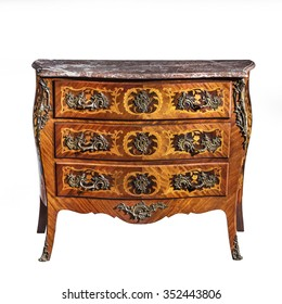 old vintage antique chest of drawers known as commode  wood inlaid ormolu furniture isolated on white with clipping path