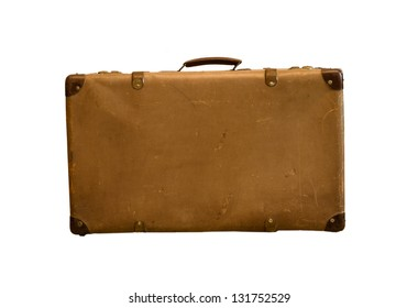 Old vintage bag suitcases on isolate background