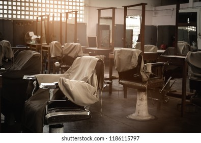 Old vintage barber chair,old school barber shop at Lumphini Park,Bangkok,Thailand