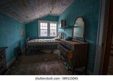 Old Vintage bedroom in an abandoned hotel
