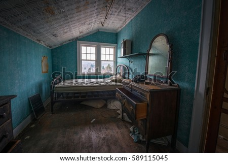 Old Vintage Bedroom Abandoned Hotel Stock Photo (Edit Now) 589115045 ...