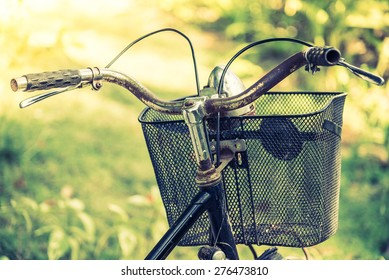 Old vintage bicycle - vintage filter effect and selective focus point