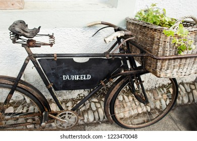 Old vintage bicycle used for a garden decoration in Dunkeld
