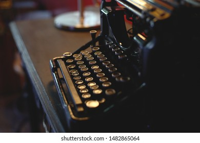 old vintage black typewriter writing