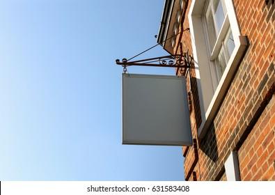 Old vintage blank hanging pub sign
