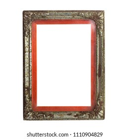 old vintage blank photo frame isolated with clipping path