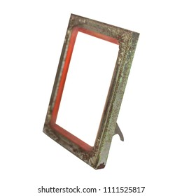 old vintage blank photo frame with clipping path