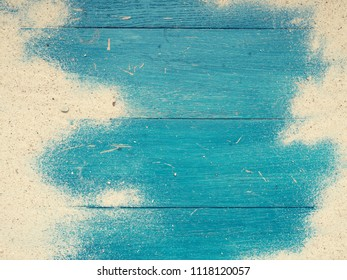 Old vintage blue beach wood with sand and space for text or image, vacation or travel concept background