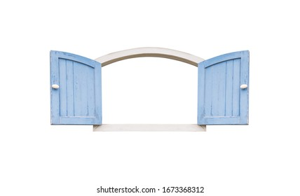 Old vintage blue wooden window isolated on white background