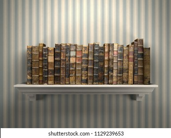 Old vintage books on a bookshelf