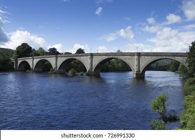 old vintage bridge in dunkeld, river Tay. Perthshire