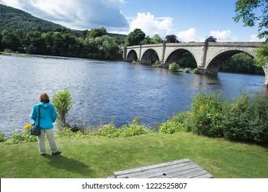 Old vintage bridge in Dunkeld rivertay, Perthshire