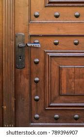 Old vintage brown door with brass handle