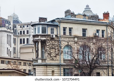 Old vintage buildings in Bucharest Romania