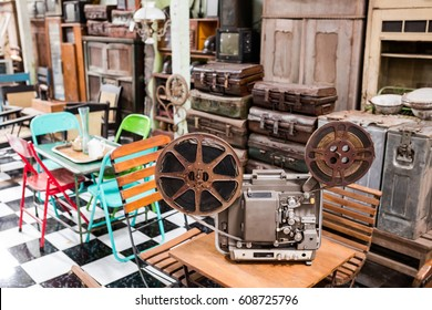 Old vintage camera and furniture at asia flea market in Ubud, Bali, Indonesia. Selective focus
