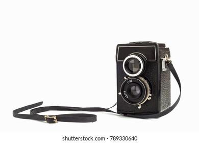 Old vintage camera  on white background. Lomo camera