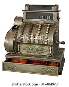 Old vintage cash register isolated on white background with Clipping Path