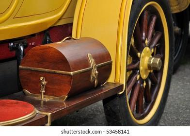 Old vintage classic car, closeup.