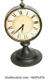An old vintage clock isolated on a white background