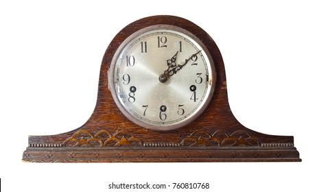 Old vintage clock on white background and clipping path.