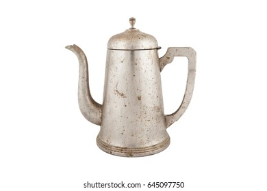 old vintage coffee pot isolated on white background