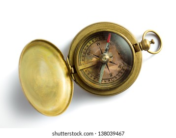 Old vintage compass isolated on white