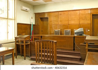Close-up of the judges chairs. & Old Vintage Court Room Closeup Judges Stock Photo (Royalty Free ...