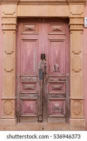 Old vintage door pink color, Tel Aviv - Jaffa, Israel