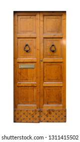 Old vintage double brown door on a white background.