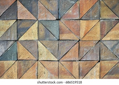 Old vintage earthenware wall tiles patterns handcraft from thailand public.