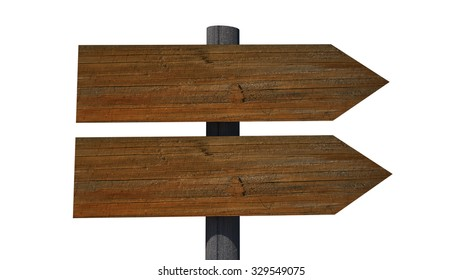 Old vintage empty wooden sign on road isolated on white background