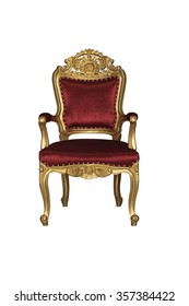 Old vintage golden chair isolated on white background