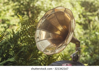 old vintage gramophone in a green garden