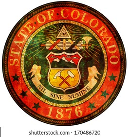 old vintage isolated over white symbol of colorado